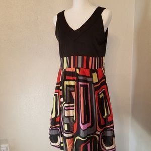 Kensie Black Multi Color Mini Dress Sz XL